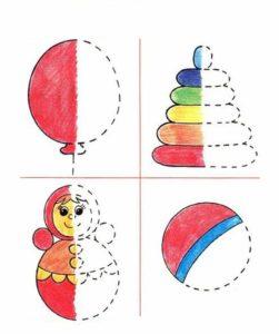 раскрашивание половины рисунка для детей